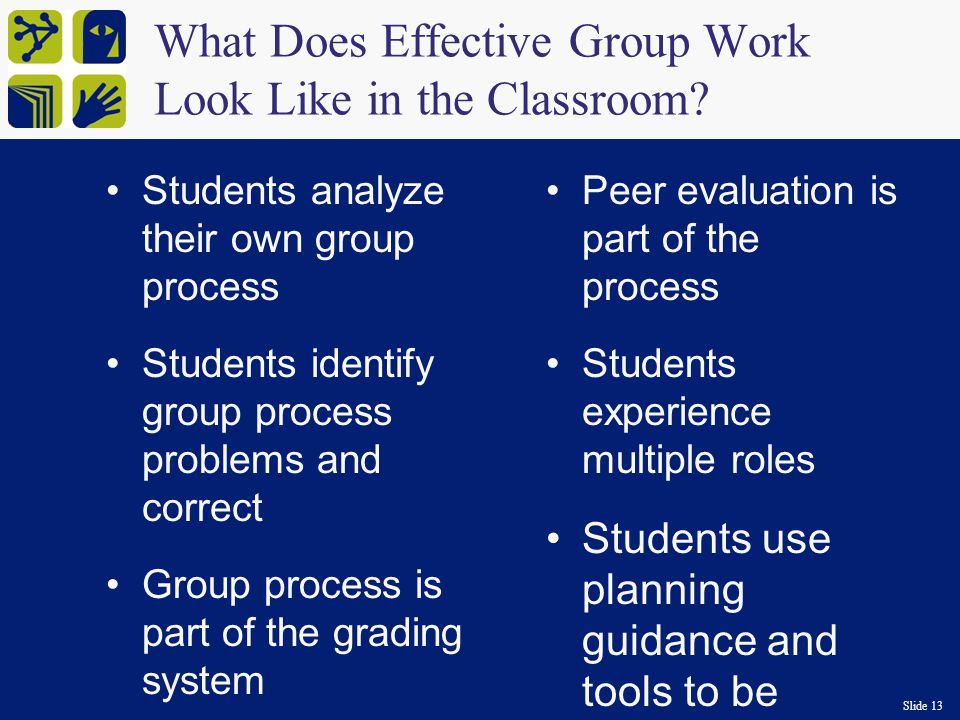 Slide 13 What Does Effective Group Work Look Like in the Classroom.