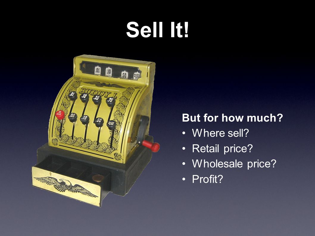 Sell It! But for how much Where sell Retail price Wholesale price Profit