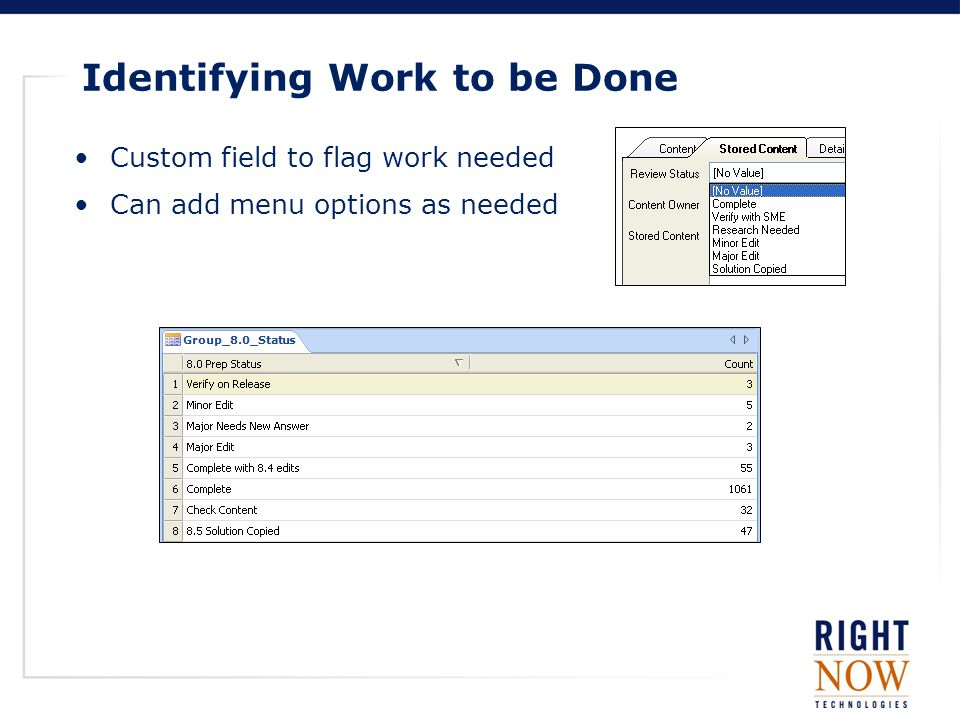 Identifying Work to be Done Custom field to flag work needed Can add menu options as needed