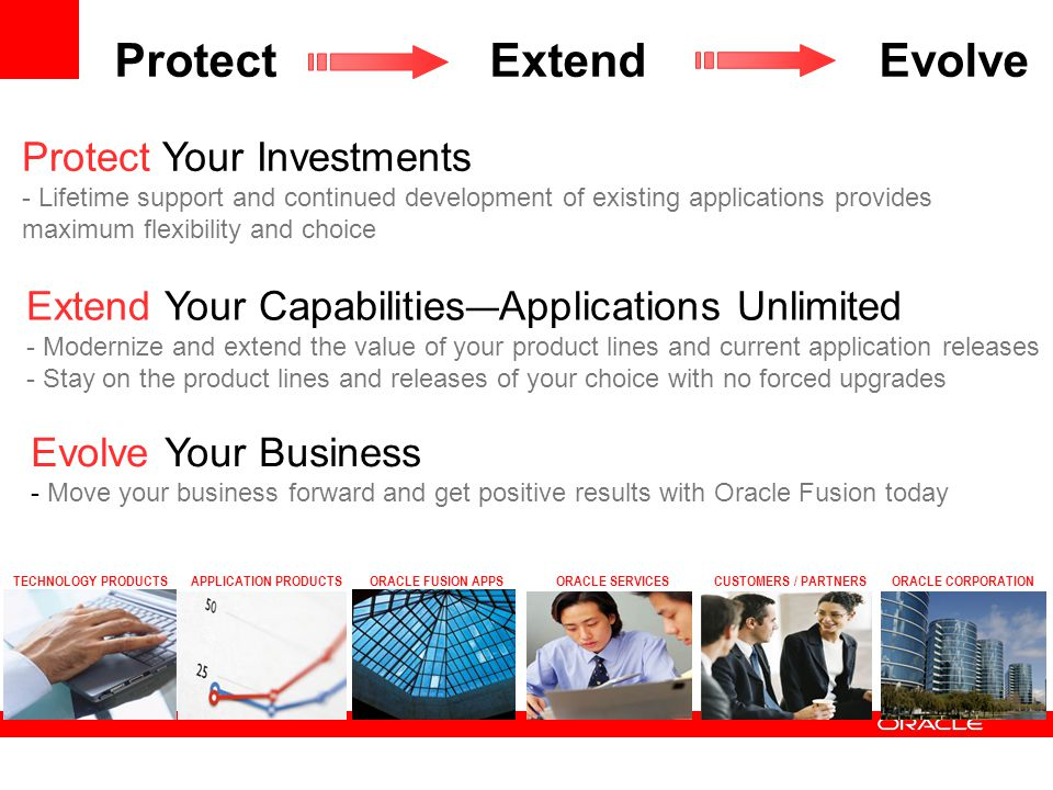 Protect Extend Evolve Protect Your Investments - Lifetime support and continued development of existing applications provides maximum flexibility and choice Extend Your Capabilities — Applications Unlimited - Modernize and extend the value of your product lines and current application releases - Stay on the product lines and releases of your choice with no forced upgrades Evolve Your Business - Move your business forward and get positive results with Oracle Fusion today TECHNOLOGY PRODUCTSAPPLICATION PRODUCTSORACLE CORPORATIONORACLE SERVICESORACLE FUSION APPSCUSTOMERS / PARTNERS