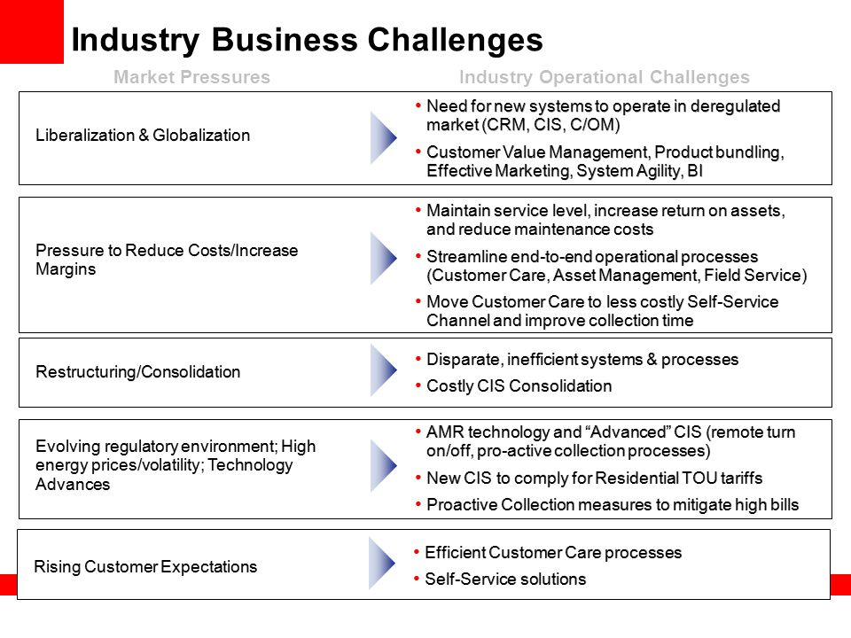 Industry Business Challenges Restructuring/Consolidation Pressure to Reduce Costs/Increase Margins Liberalization & Globalization Evolving regulatory environment; High energy prices/volatility; Technology Advances Need for new systems to operate in deregulated market (CRM, CIS, C/OM) Customer Value Management, Product bundling, Effective Marketing, System Agility, BI Need for new systems to operate in deregulated market (CRM, CIS, C/OM) Customer Value Management, Product bundling, Effective Marketing, System Agility, BI Disparate, inefficient systems & processes Costly CIS Consolidation Disparate, inefficient systems & processes Costly CIS Consolidation Maintain service level, increase return on assets, and reduce maintenance costs Streamline end-to-end operational processes (Customer Care, Asset Management, Field Service) Move Customer Care to less costly Self-Service Channel and improve collection time Maintain service level, increase return on assets, and reduce maintenance costs Streamline end-to-end operational processes (Customer Care, Asset Management, Field Service) Move Customer Care to less costly Self-Service Channel and improve collection time AMR technology and Advanced CIS (remote turn on/off, pro-active collection processes) New CIS to comply for Residential TOU tariffs Proactive Collection measures to mitigate high bills AMR technology and Advanced CIS (remote turn on/off, pro-active collection processes) New CIS to comply for Residential TOU tariffs Proactive Collection measures to mitigate high bills Market PressuresIndustry Operational Challenges Rising Customer Expectations Efficient Customer Care processes Self-Service solutions Efficient Customer Care processes Self-Service solutions