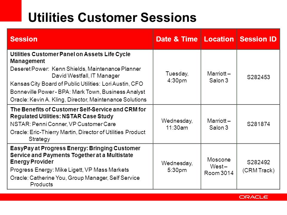 Utilities Customer Sessions SessionDate & TimeLocationSession ID Utilities Customer Panel on Assets Life Cycle Management Deseret Power: Kenn Shields, Maintenance Planner David Westfall, IT Manager Kansas City Board of Public Utilities: Lori Austin, CFO Bonneville Power - BPA: Mark Town, Business Analyst Oracle: Kevin A.