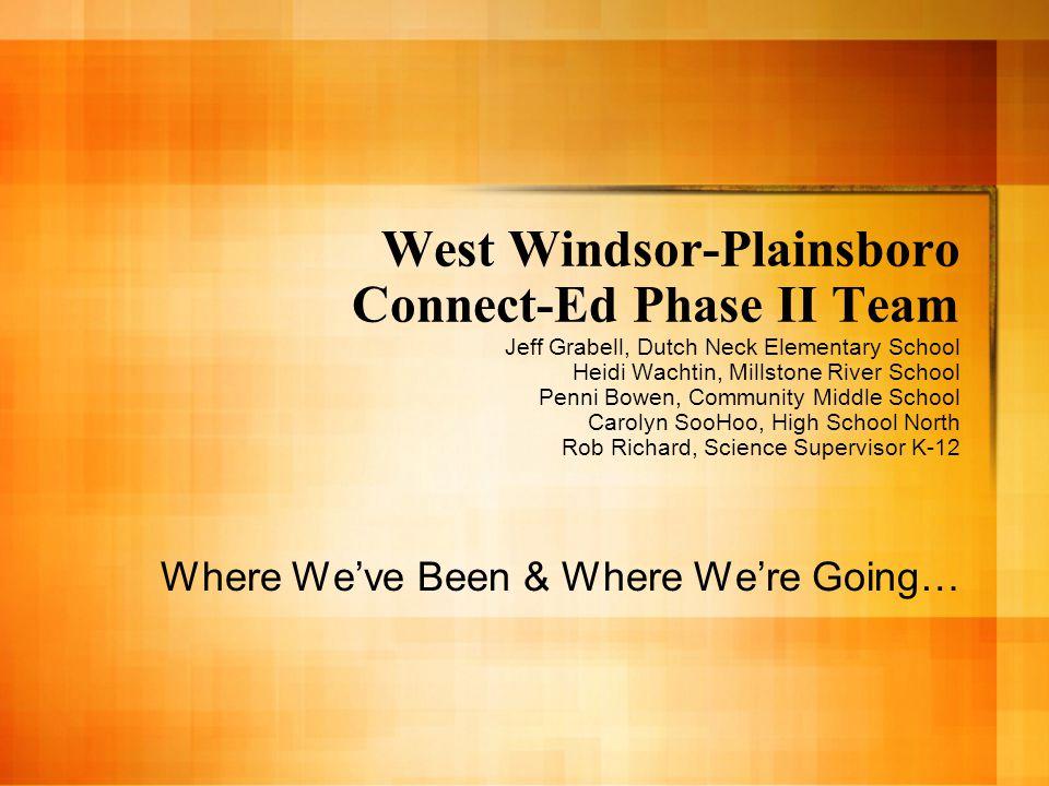 West Windsor-Plainsboro Connect-Ed Phase II Team Jeff Grabell, Dutch Neck Elementary School Heidi Wachtin, Millstone River School Penni Bowen, Community Middle School Carolyn SooHoo, High School North Rob Richard, Science Supervisor K-12 Where We've Been & Where We're Going…