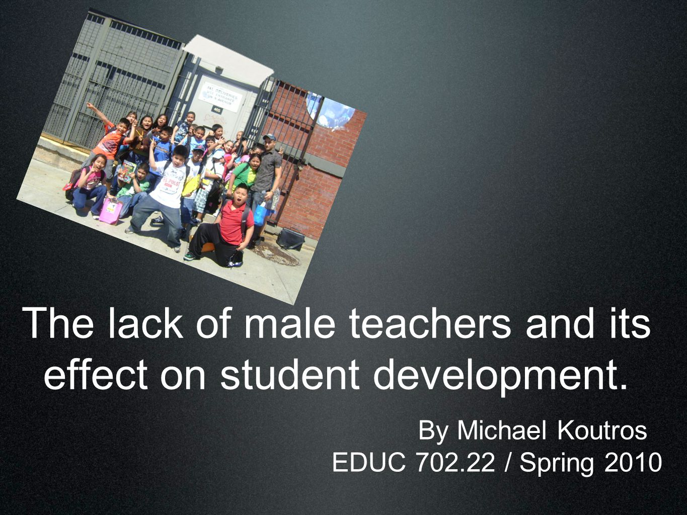 The lack of male teachers and its effect on student development.