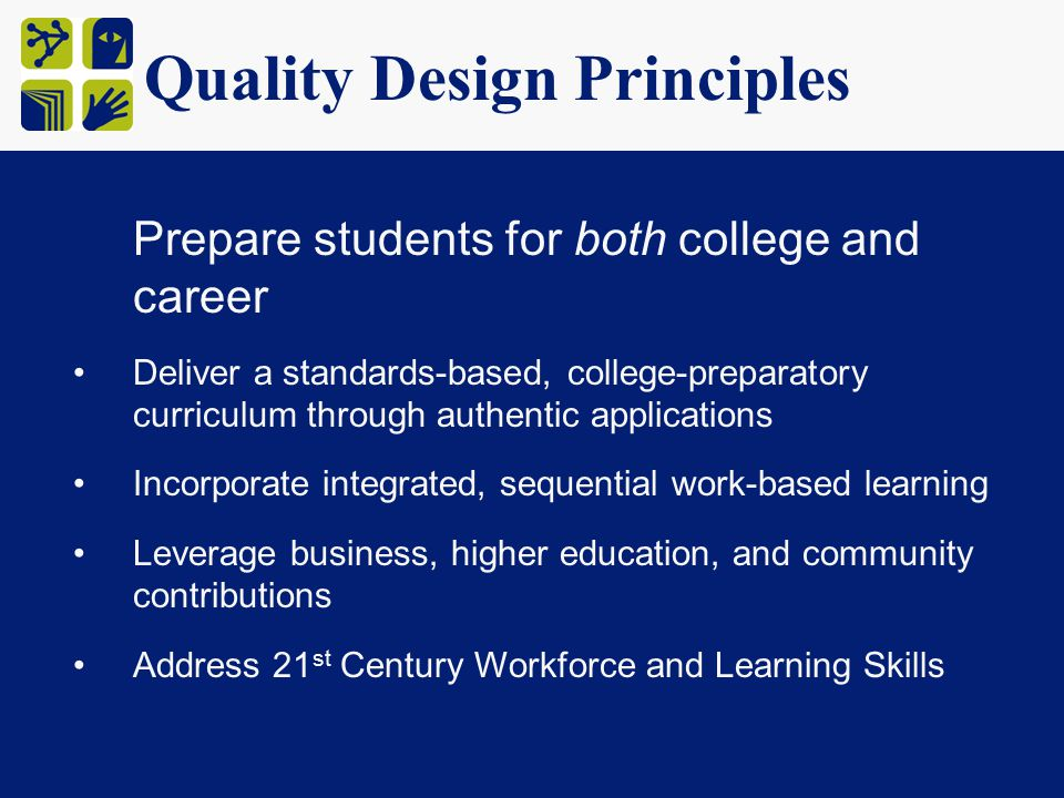 Quality Design Principles Prepare students for both college and career Deliver a standards-based, college-preparatory curriculum through authentic applications Incorporate integrated, sequential work-based learning Leverage business, higher education, and community contributions Address 21 st Century Workforce and Learning Skills