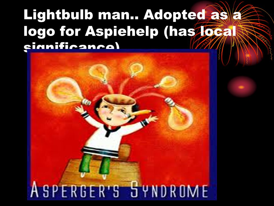 Lightbulb man.. Adopted as a logo for Aspiehelp (has local significance)