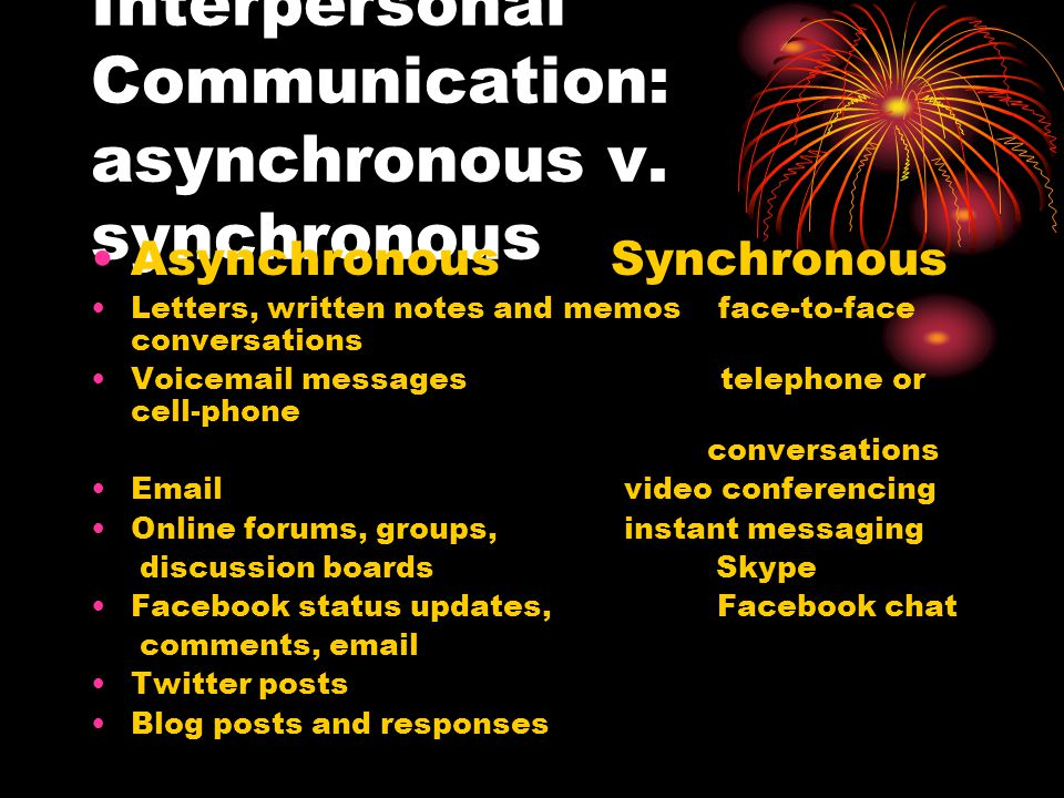 Interpersonal Communication: asynchronous v.