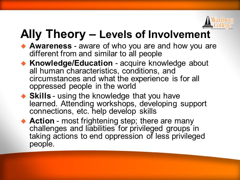 WARTBURG TRADITIONS Ally Theory – Levels of Involvement u Awareness - aware of who you are and how you are different from and similar to all people u