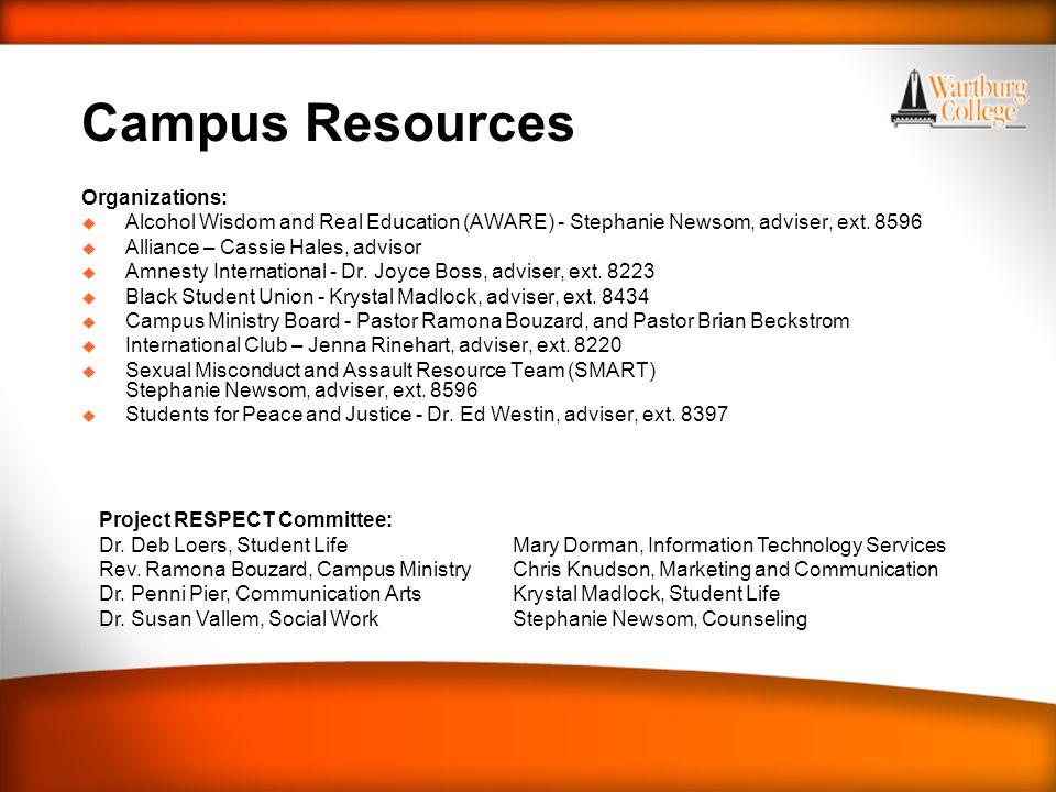 WARTBURG TRADITIONS Campus Resources Organizations: u Alcohol Wisdom and Real Education (AWARE) - Stephanie Newsom, adviser, ext.