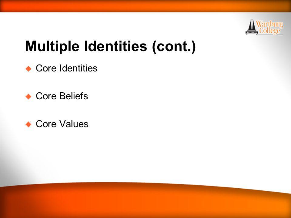 Multiple Identities (cont.) u Core Identities u Core Beliefs u Core Values