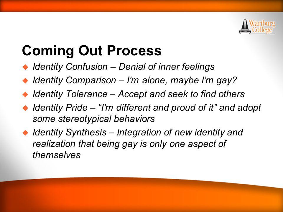 WARTBURG TRADITIONS Coming Out Process u Identity Confusion – Denial of inner feelings u Identity Comparison – I'm alone, maybe I'm gay? u Identity To