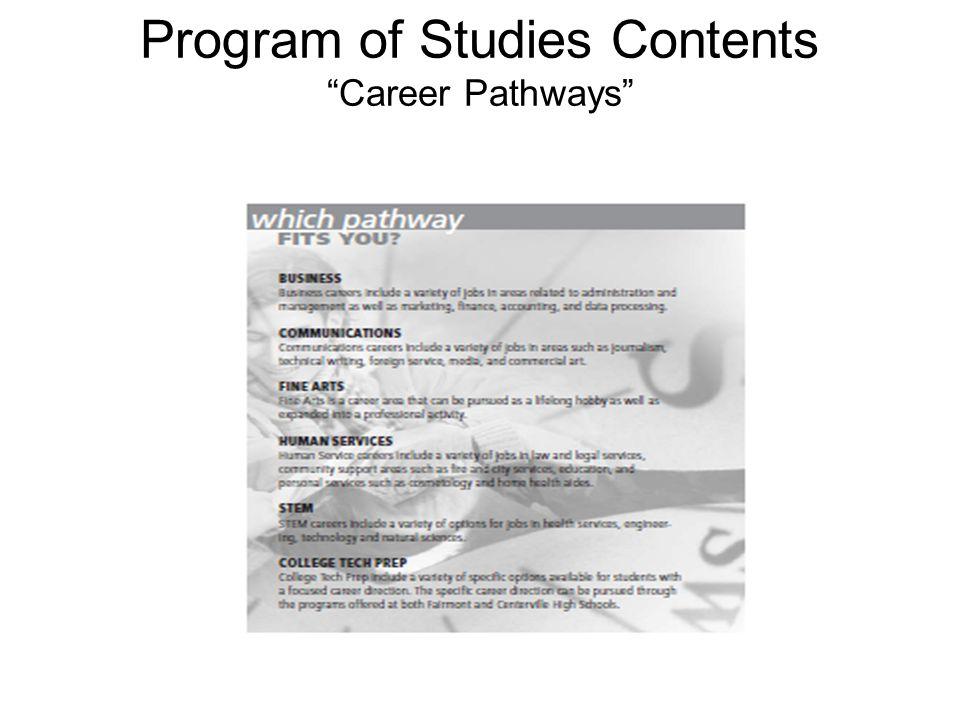 Program of Studies Contents Career Pathways