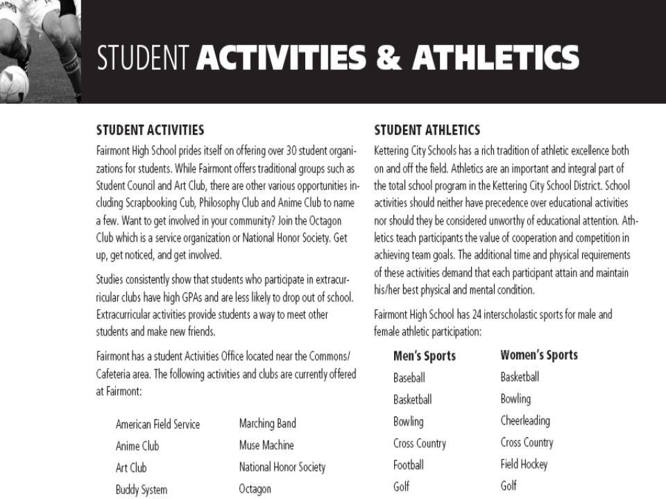 Program of Studies Highlights Student Activities & Athletics