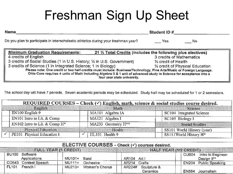 Freshman Sign Up Sheet