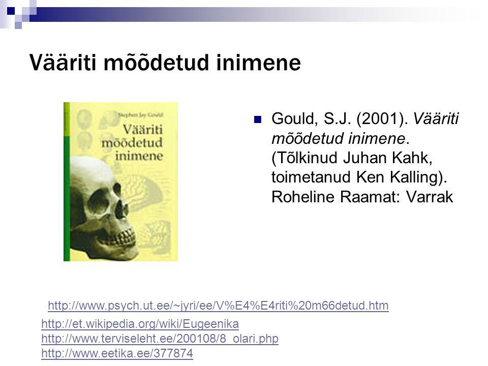 Vääriti mõõdetud inimene Gould, S.J. (2001). Vääriti mõõdetud inimene. (Tõlkinud Juhan Kahk, toimetanud Ken Kalling). Roheline Raamat: Varrak http://e