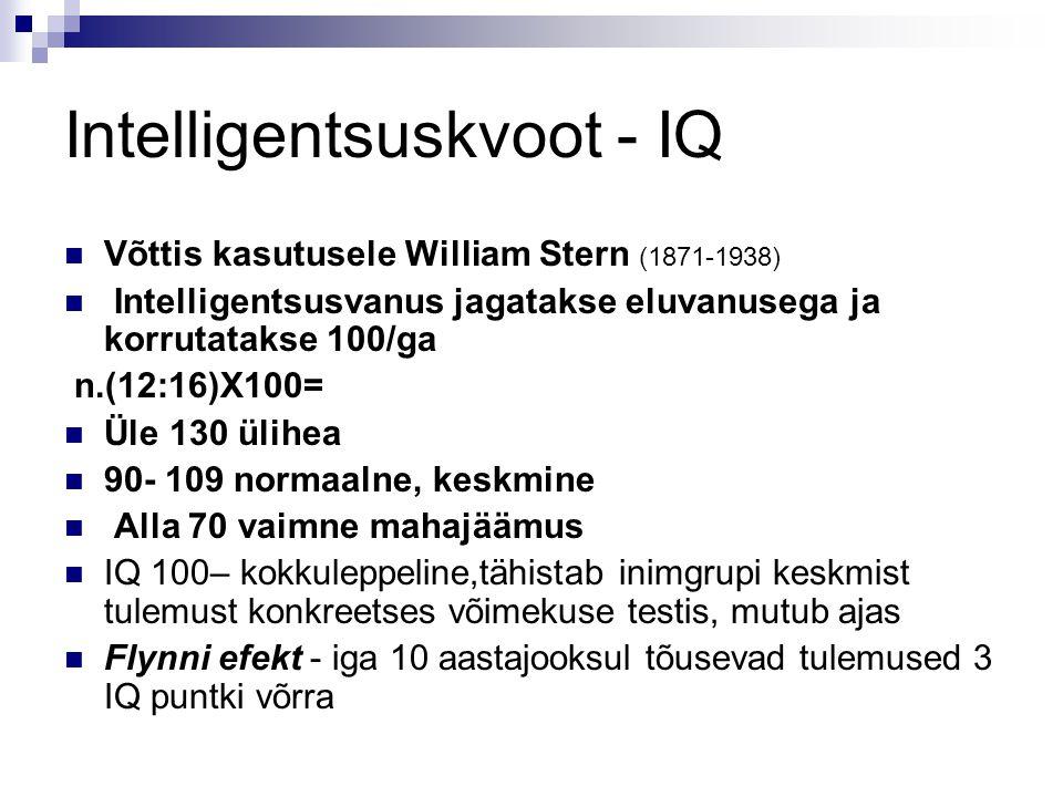 Intelligentsuskvoot - IQ Võttis kasutusele William Stern (1871-1938) Intelligentsusvanus jagatakse eluvanusega ja korrutatakse 100/ga n.(12:16)X100= Ü