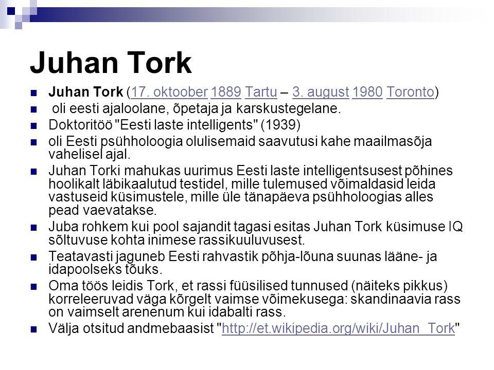 Juhan Tork Juhan Tork (17. oktoober 1889 Tartu – 3. august 1980 Toronto)17. oktoober1889Tartu3. august1980Toronto oli eesti ajaloolane, õpetaja ja kar
