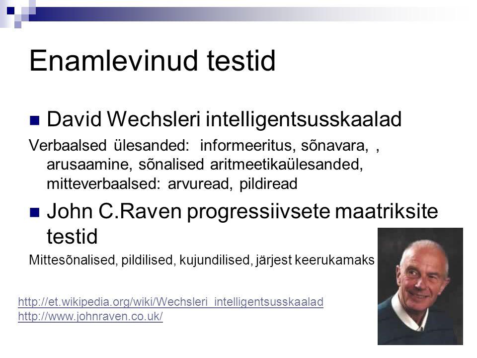 Enamlevinud testid David Wechsleri intelligentsusskaalad Verbaalsed ülesanded: informeeritus, sõnavara,, arusaamine, sõnalised aritmeetikaülesanded, m