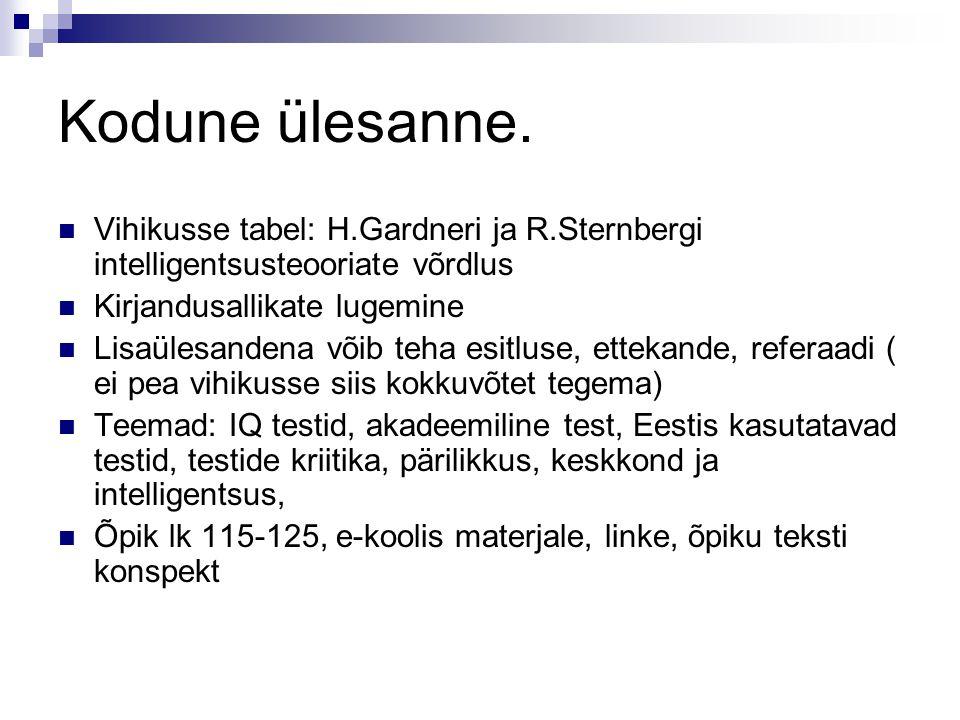 Kodune ülesanne. Vihikusse tabel: H.Gardneri ja R.Sternbergi intelligentsusteooriate võrdlus Kirjandusallikate lugemine Lisaülesandena võib teha esitl