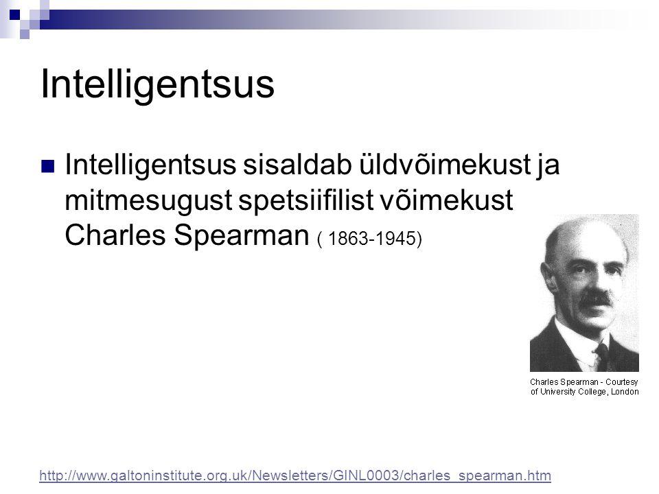 Intelligentsus Intelligentsus sisaldab üldvõimekust ja mitmesugust spetsiifilist võimekust Charles Spearman ( 1863-1945) http://www.galtoninstitute.or