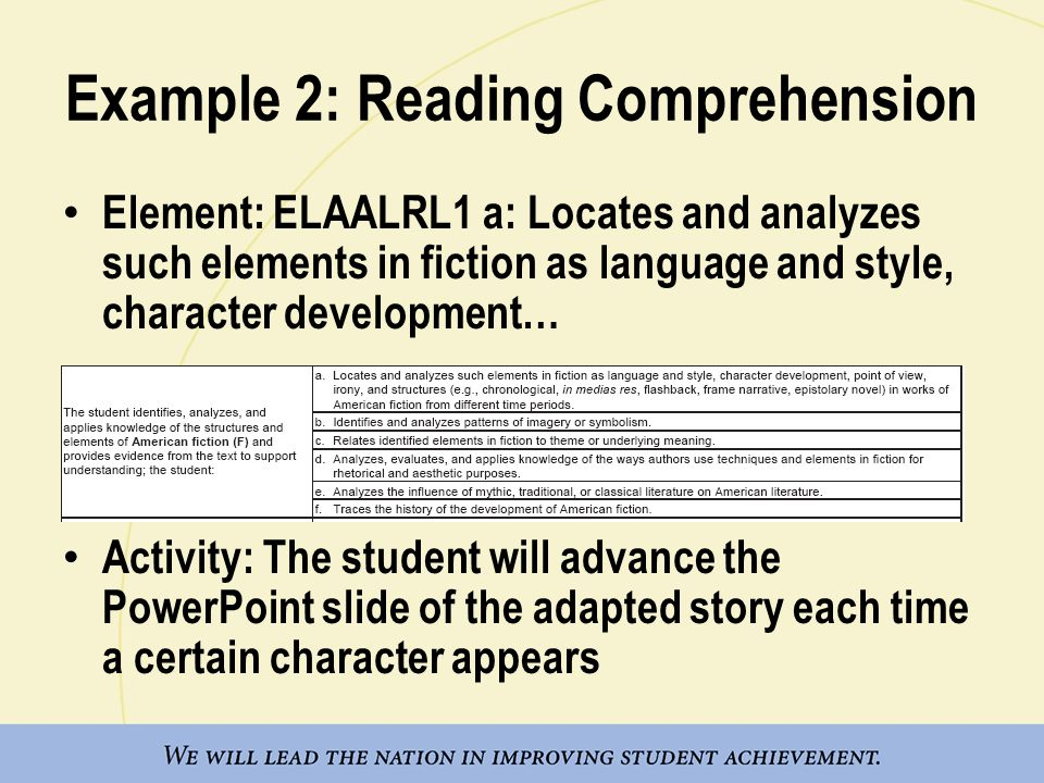 Example 2: Reading Comprehension Element: ELAALRL1 a: Locates and analyzes such elements in fiction as language and style, character development… Acti