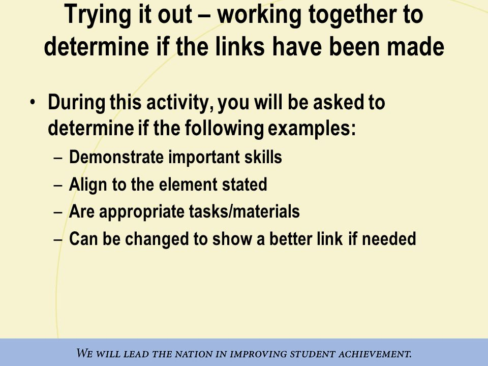 Trying it out – working together to determine if the links have been made During this activity, you will be asked to determine if the following exampl