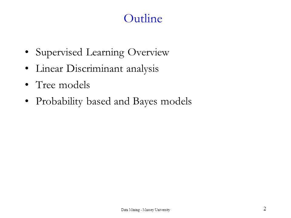 Data Mining - Massey University 43 Example of Probabilistic Classification p( x | c 1 )p( x | c 2 ) p( c 1 | x ) 1 0.5 0