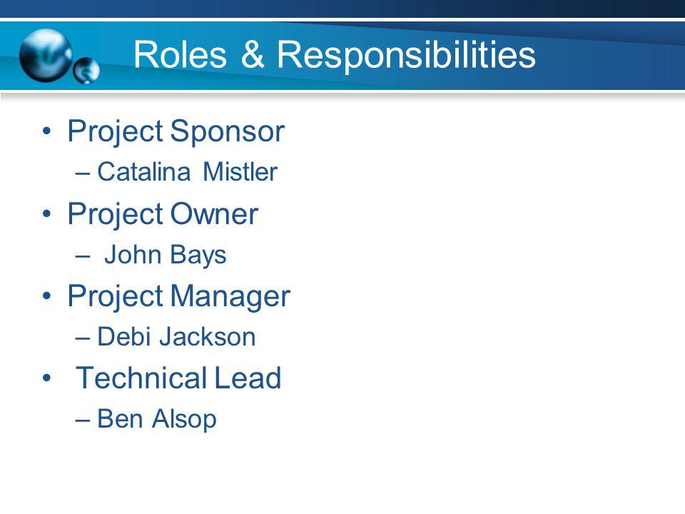 Roles & Responsibilities Project Sponsor –Catalina Mistler Project Owner – John Bays Project Manager –Debi Jackson Technical Lead –Ben Alsop