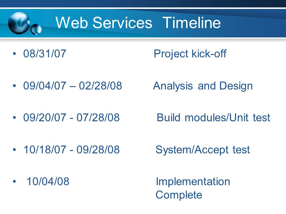 Web Services Timeline 08/31/07 Project kick-off 09/04/07 – 02/28/08 Analysis and Design 09/20/07 - 07/28/08 Build modules/Unit test 10/18/07 - 09/28/08 System/Accept test 10/04/08 Implementation Complete