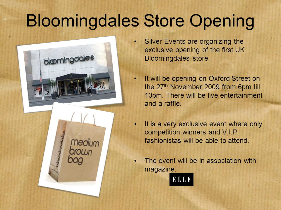 Bloomingdales Store Opening Silver Events are organizing the exclusive opening of the first UK Bloomingdales store.