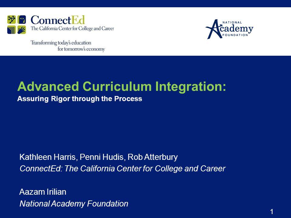 Kathleen Harris, Penni Hudis, Rob Atterbury ConnectEd: The California Center for College and Career Aazam Irilian National Academy Foundation 1 Advanc