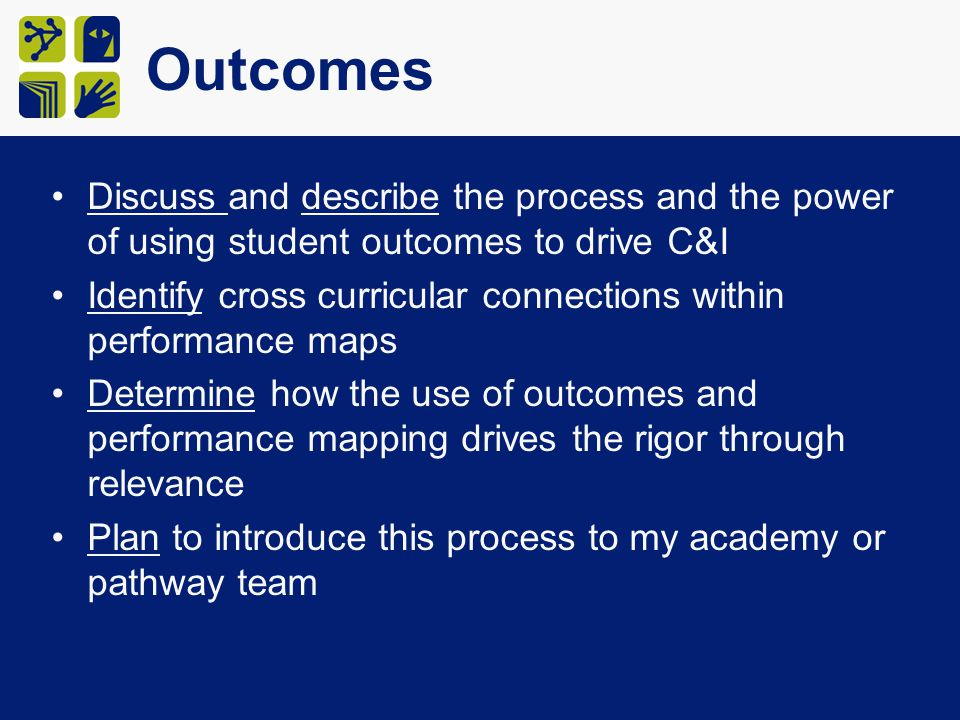 Outcomes Discuss and describe the process and the power of using student outcomes to drive C&I Identify cross curricular connections within performance maps Determine how the use of outcomes and performance mapping drives the rigor through relevance Plan to introduce this process to my academy or pathway team
