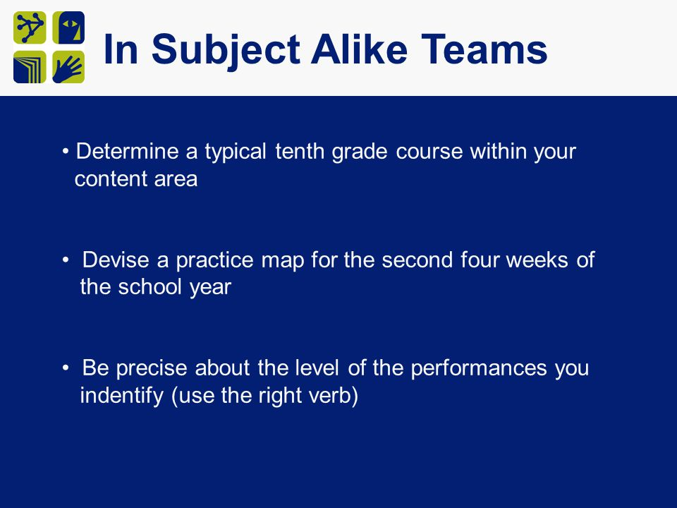 In Subject Alike Teams Determine a typical tenth grade course within your content area Devise a practice map for the second four weeks of the school year Be precise about the level of the performances you indentify (use the right verb)