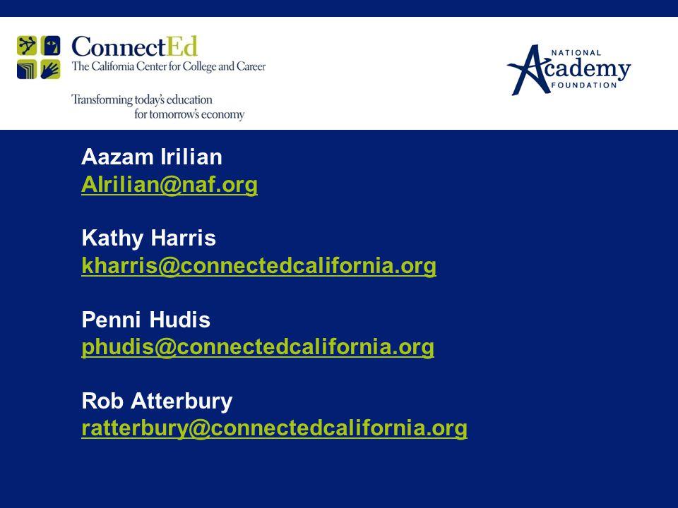 Aazam Irilian AIrilian@naf.org Kathy Harris kharris@connectedcalifornia.org Penni Hudis phudis@connectedcalifornia.org Rob Atterbury ratterbury@connec