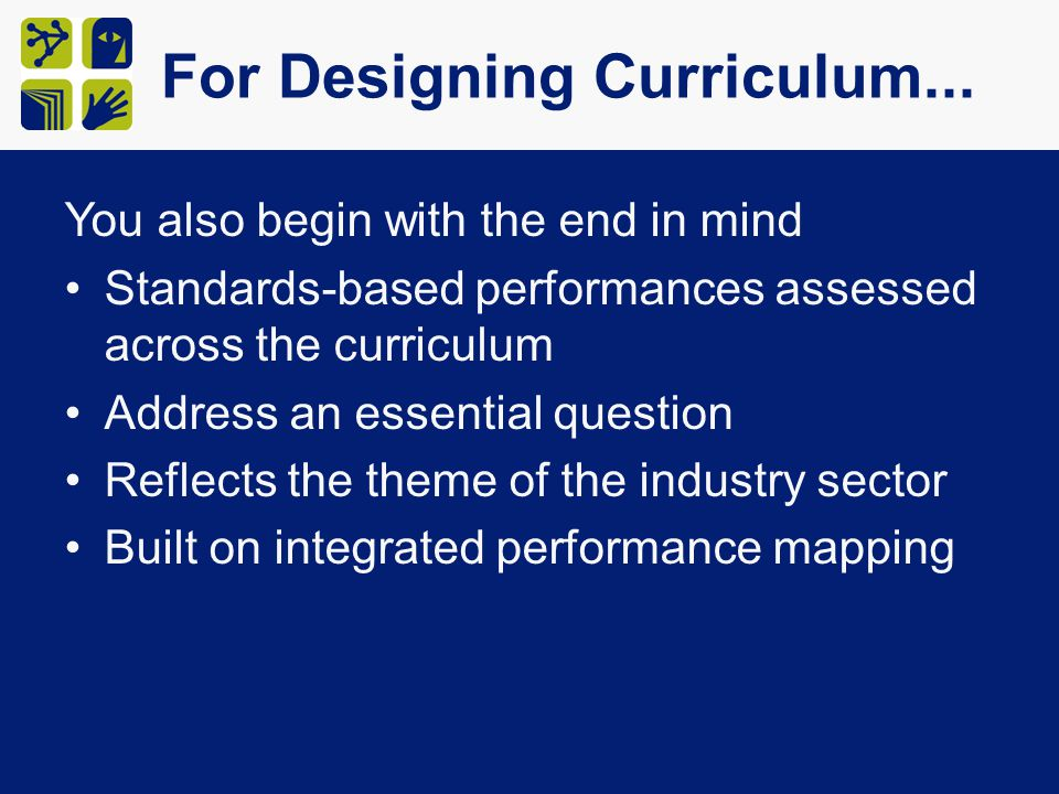 For Designing Curriculum... You also begin with the end in mind Standards-based performances assessed across the curriculum Address an essential quest