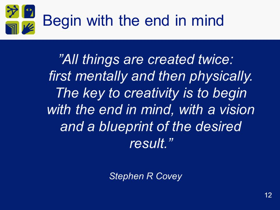 Begin with the end in mind All things are created twice: first mentally and then physically.
