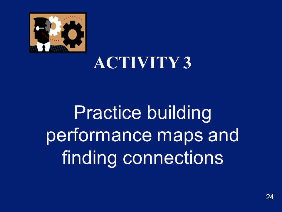 ACTIVITY 3 Practice building performance maps and finding connections 24