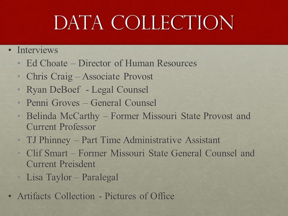 Data Collection Interviews Interviews Ed Choate – Director of Human Resources Ed Choate – Director of Human Resources Chris Craig – Associate Provost