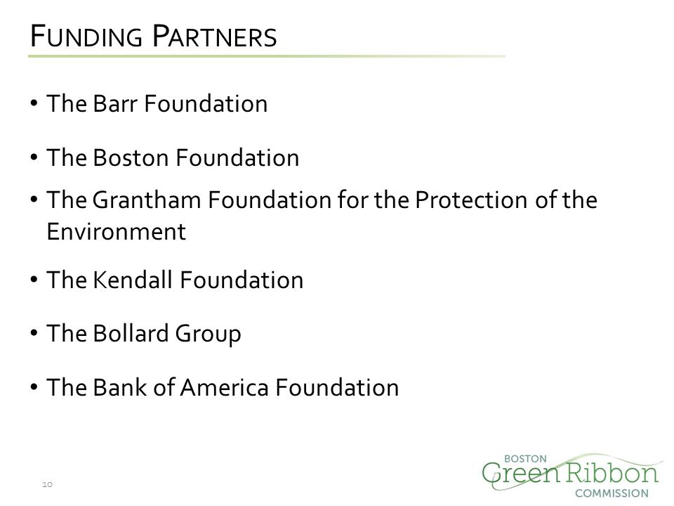 F UNDING P ARTNERS The Barr Foundation The Boston Foundation The Grantham Foundation for the Protection of the Environment The Kendall Foundation The Bollard Group The Bank of America Foundation 10