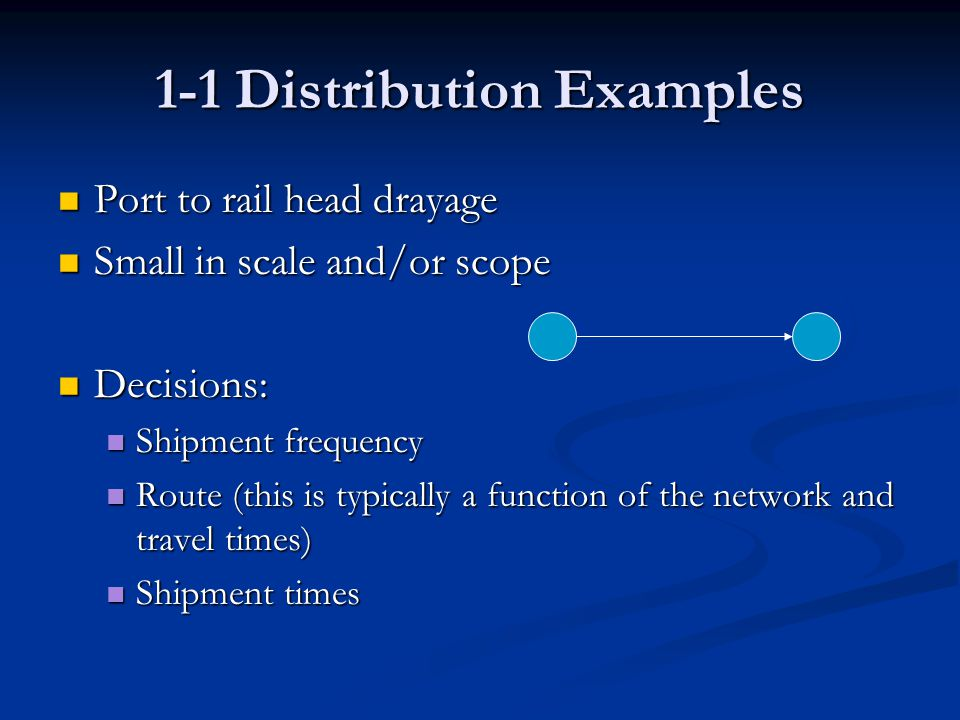 1-1 Distribution Examples Port to rail head drayage Port to rail head drayage Small in scale and/or scope Small in scale and/or scope Decisions: Decisions: Shipment frequency Shipment frequency Route (this is typically a function of the network and travel times) Route (this is typically a function of the network and travel times) Shipment times Shipment times