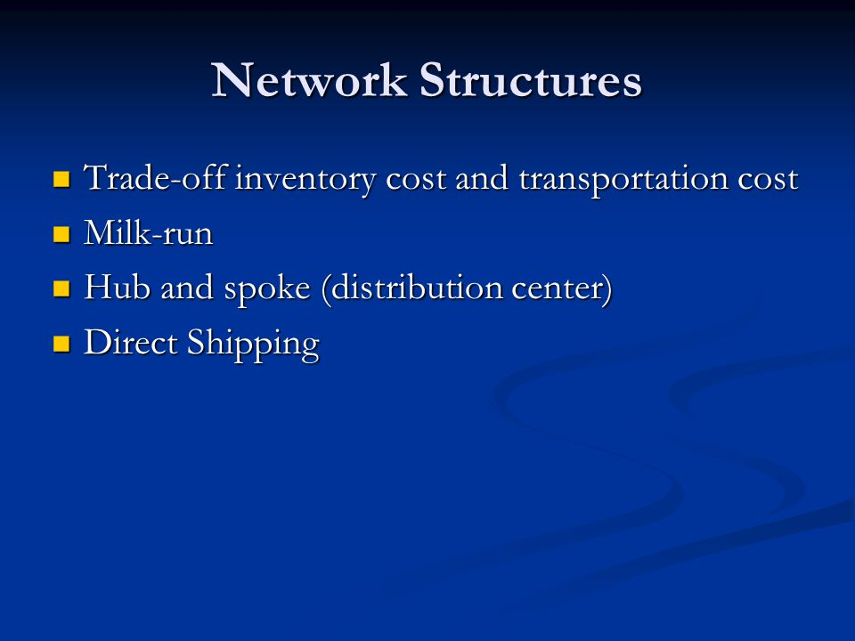 Network Structures Trade-off inventory cost and transportation cost Trade-off inventory cost and transportation cost Milk-run Milk-run Hub and spoke (distribution center) Hub and spoke (distribution center) Direct Shipping Direct Shipping