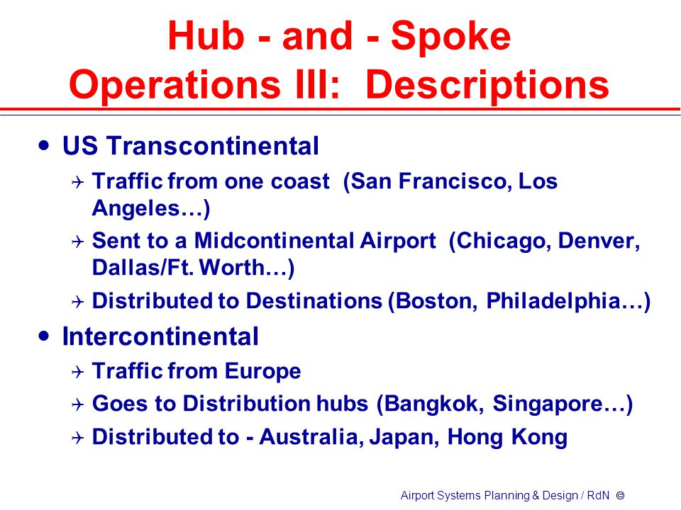 Airport Systems Planning & Design / RdN  US Transcontinental  Traffic from one coast (San Francisco, Los Angeles…)  Sent to a Midcontinental Airport (Chicago, Denver, Dallas/Ft.