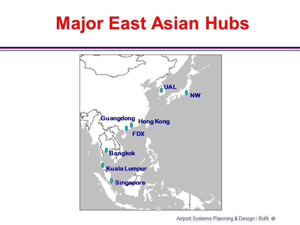 Airport Systems Planning & Design / RdN  Major East Asian Hubs NW UAL FDX Hong Kong Singapore Kuala Lumpur Bangkok Guangdong