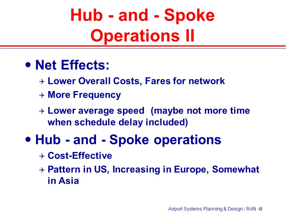 Airport Systems Planning & Design / RdN  Net Effects:  Lower Overall Costs, Fares for network  More Frequency  Lower average speed (maybe not more time when schedule delay included) Hub - and - Spoke operations  Cost-Effective  Pattern in US, Increasing in Europe, Somewhat in Asia Hub - and - Spoke Operations II
