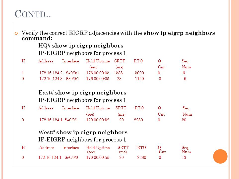 C ONTD.. Verify the correct EIGRP adjacencies with the show ip eigrp neighbors command: HQ# show ip eigrp neighbors IP-EIGRP neighbors for process 1 H