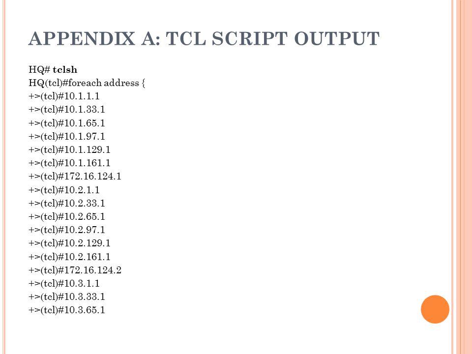APPENDIX A: TCL SCRIPT OUTPUT HQ# tclsh HQ(tcl)#foreach address { +>(tcl)#10.1.1.1 +>(tcl)#10.1.33.1 +>(tcl)#10.1.65.1 +>(tcl)#10.1.97.1 +>(tcl)#10.1.