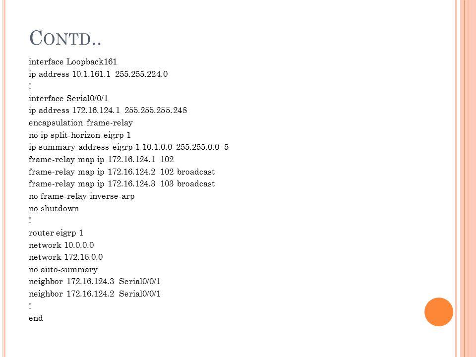 C ONTD.. interface Loopback161 ip address 10.1.161.1 255.255.224.0 ! interface Serial0/0/1 ip address 172.16.124.1 255.255.255.248 encapsulation frame