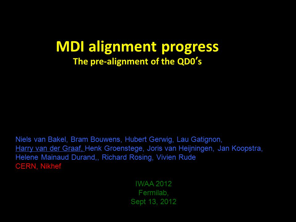 MDI alignment progress The pre-alignment of the QD0's Niels van Bakel, Bram Bouwens, Hubert Gerwig, Lau Gatignon, Harry van der Graaf, Henk Groenstege