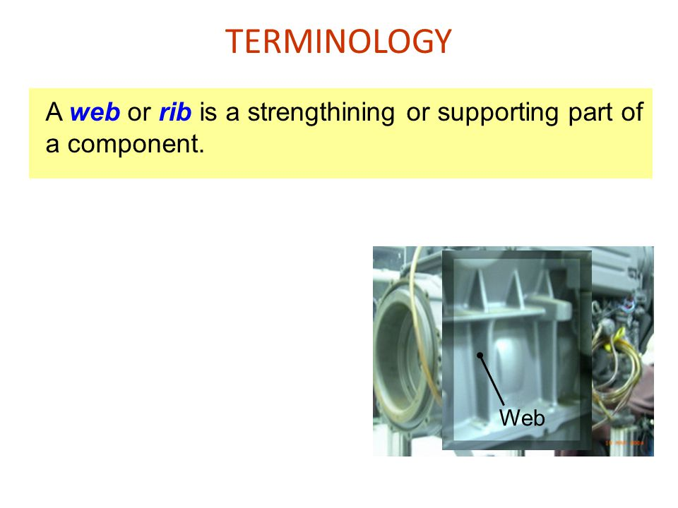 TERMINOLOGY A web or rib is a strengthining or supporting part of a component. Web