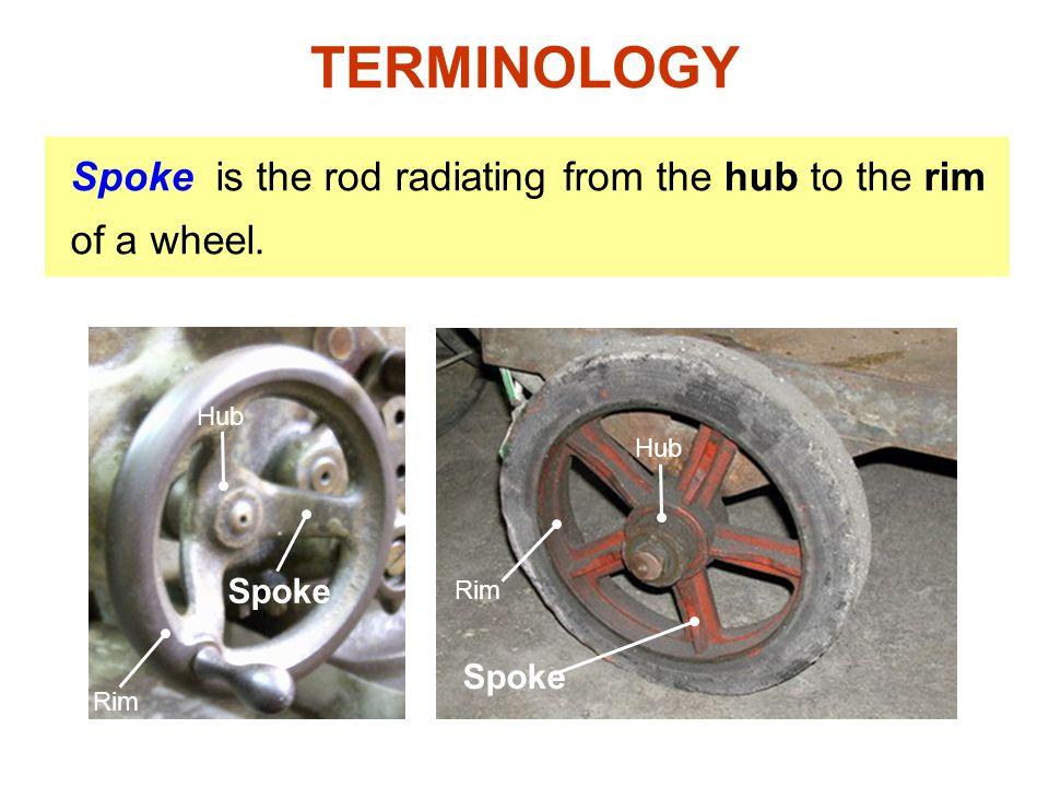 Rim Spoke is the rod radiating from the hub to the rim of a wheel. Spoke Rim Hub TERMINOLOGY Hub